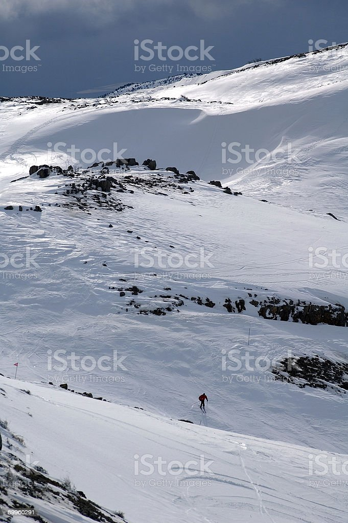 Lone Skier stock photo