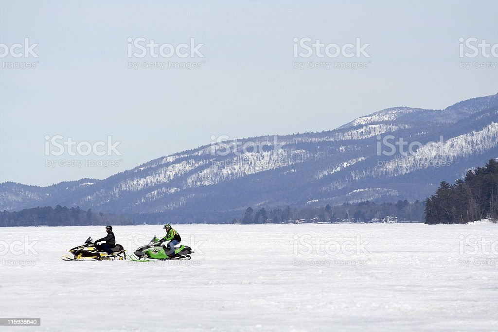 Lone Snowmobiles royalty-free stock photo