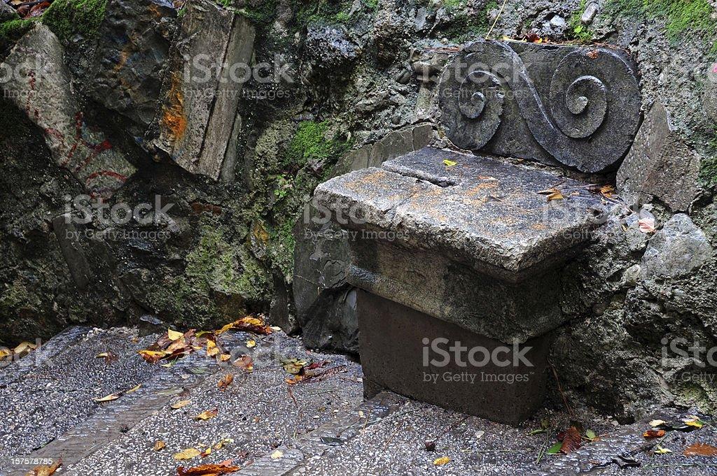 Lone Stone Bench royalty-free stock photo