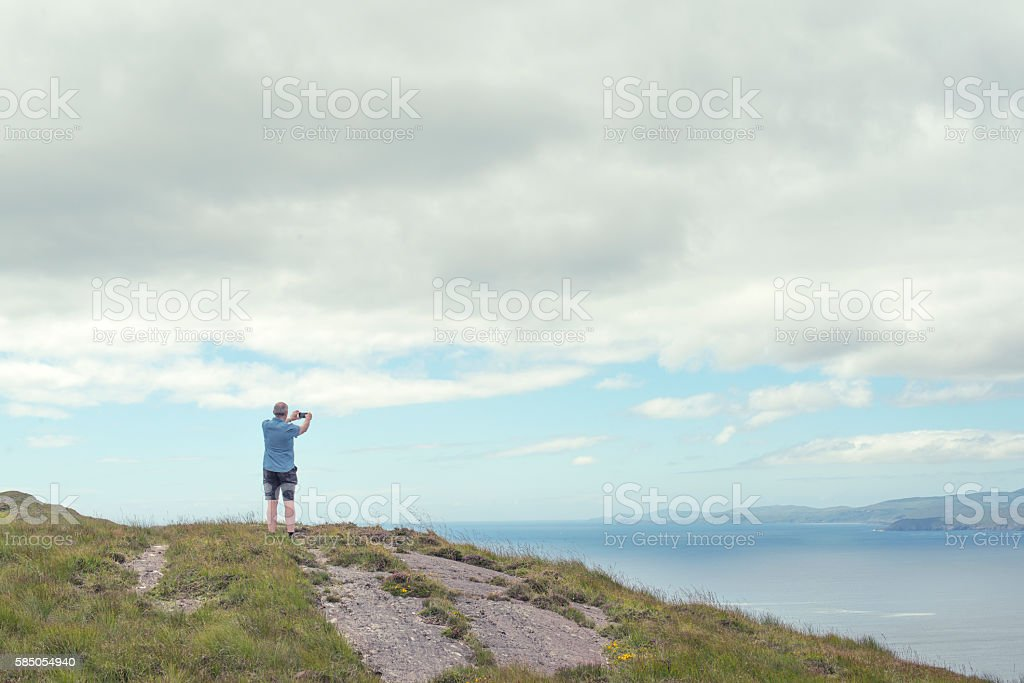 Lone travel on Sheeps head, County Cork, Ireland. stock photo