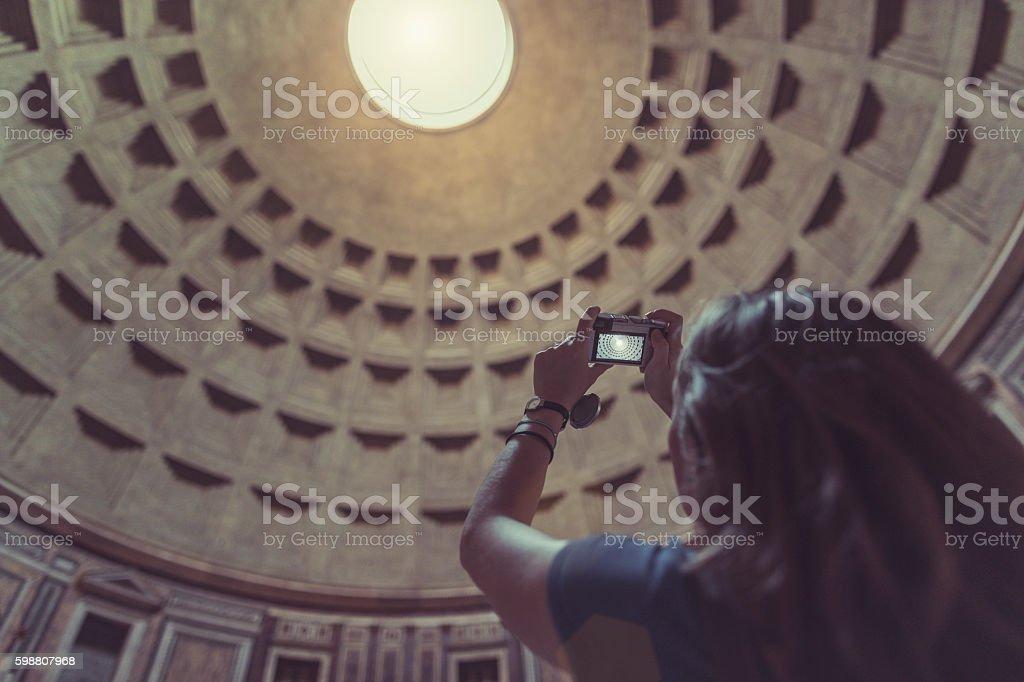 Lone traveler tourist woman  at Pantheon in Rome stock photo