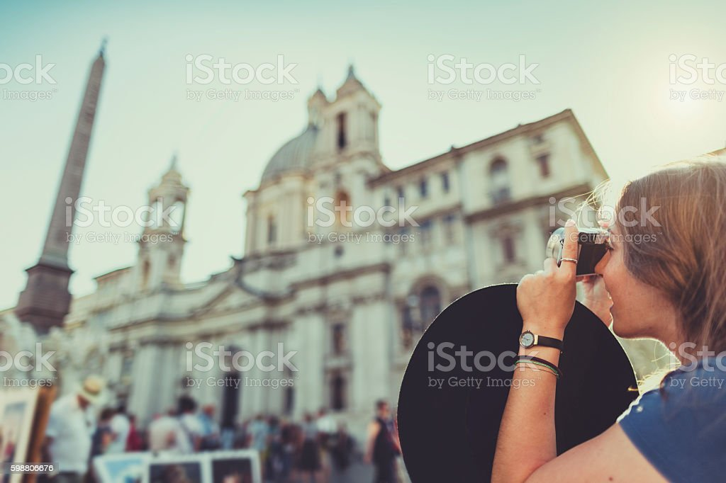 Lone traveler tourist woman  in Rome stock photo