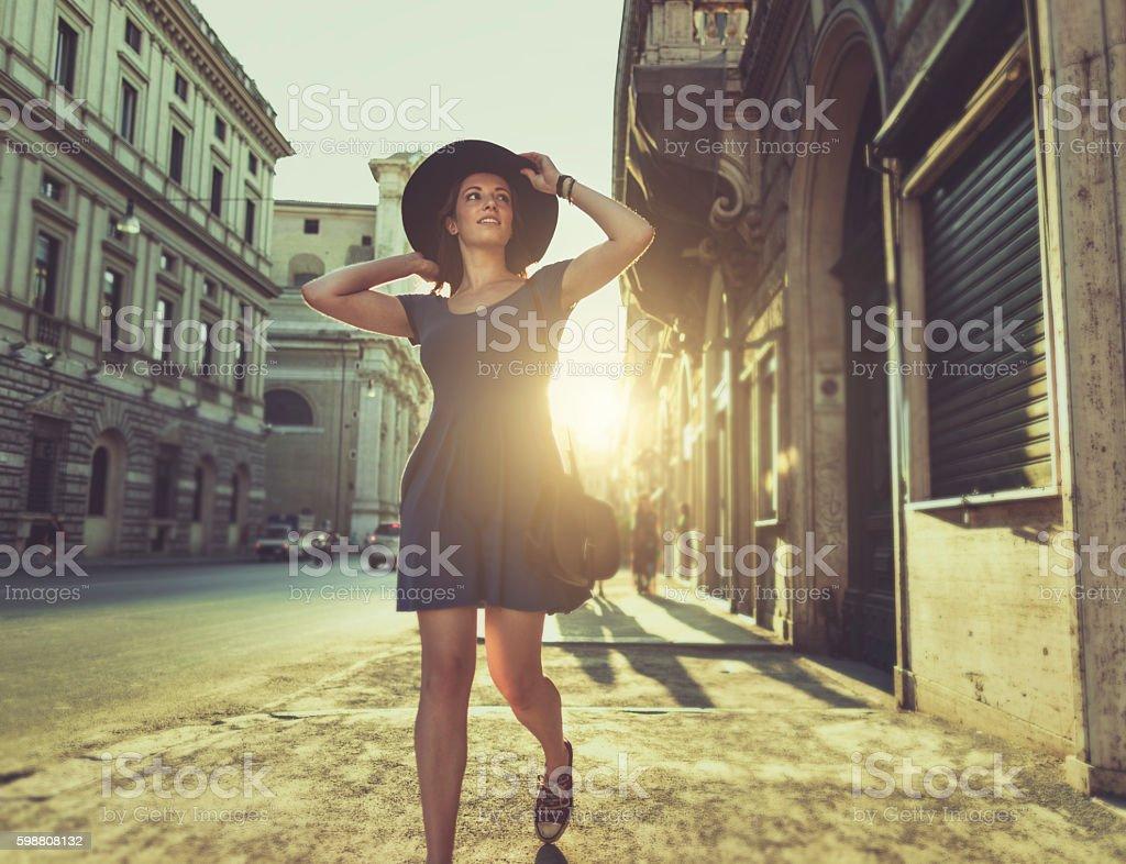 Lone traveler tourist woman  in Rome stock photo