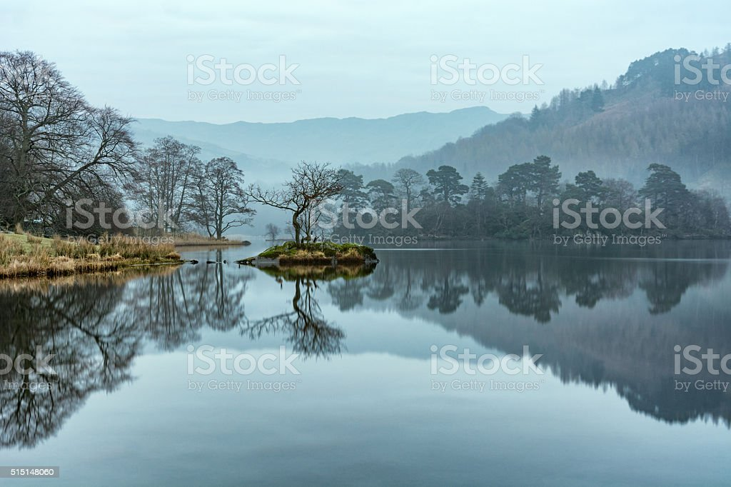 Lone Tree Reflected In Calm Lake On Misty Morning. stock photo