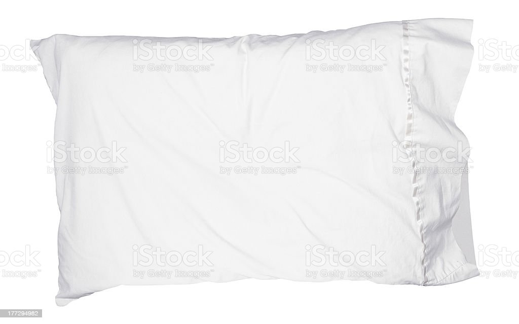 Lone white pillow over a white background stock photo
