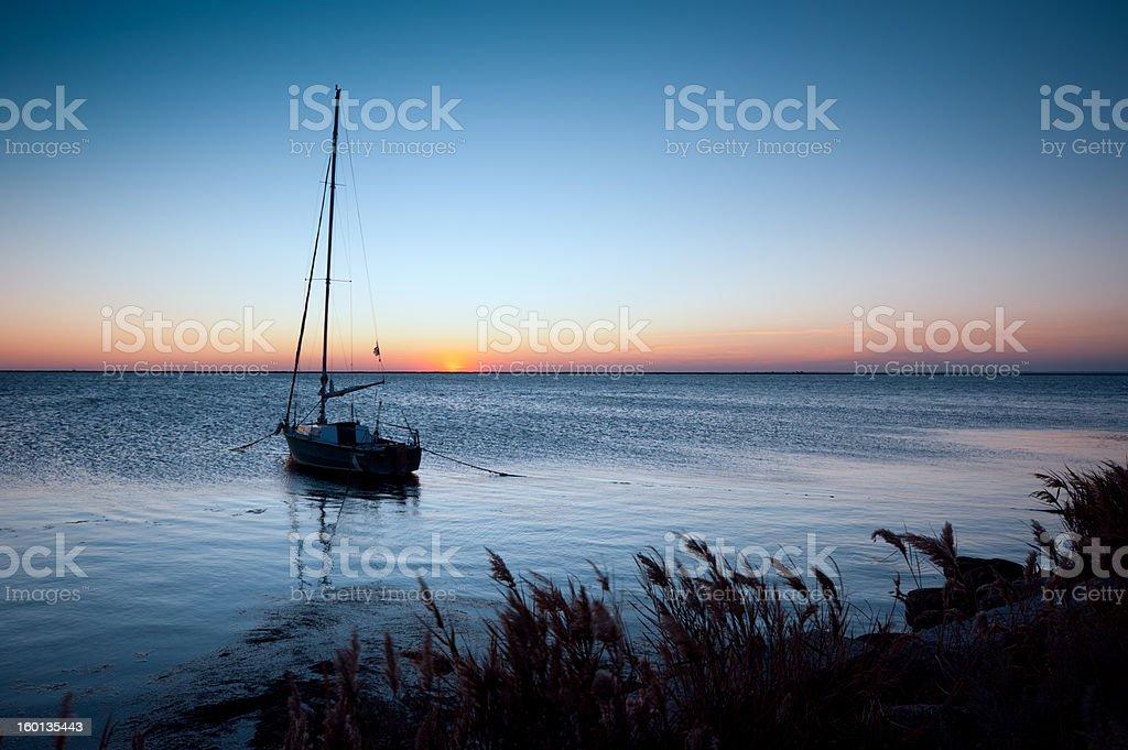 lone yacht royalty-free stock photo