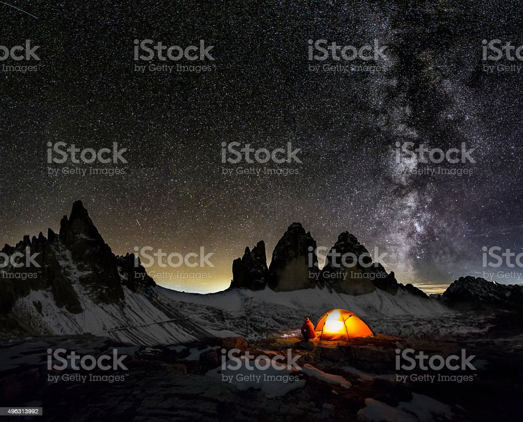Loneley Camper under Milky Way at the three Pinnacles stock photo