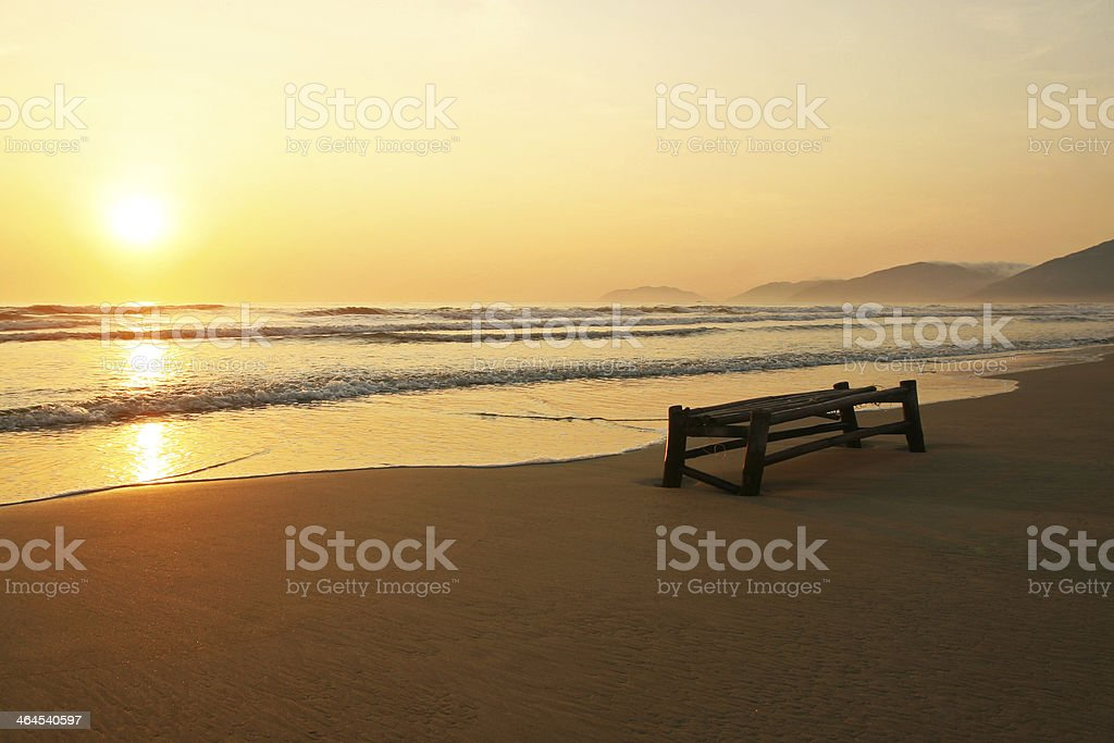 Loneliness on the beach stock photo