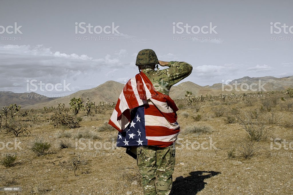 Lonely American Soldier stock photo