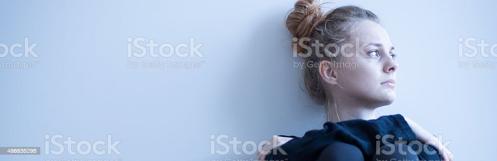 Lonely anorectic girl stock photo