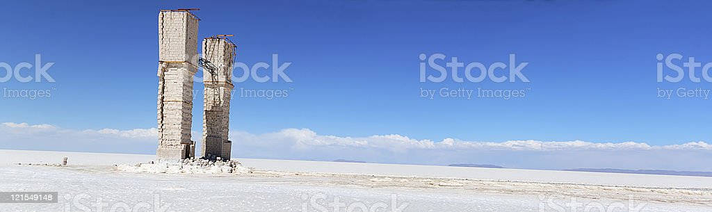 Lonely arch in salt desert, panorama stock photo