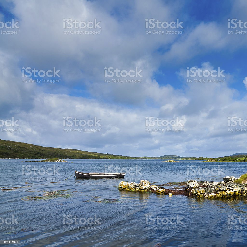 Lonely boat in Ardmore bay stock photo