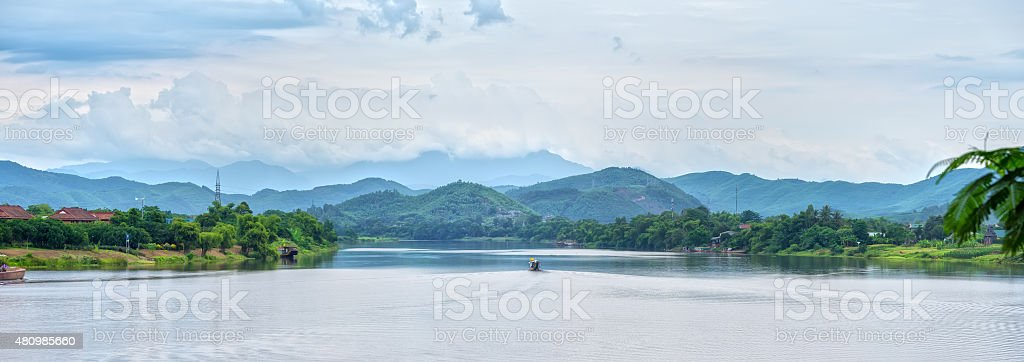 Lonely Boat in Perfume River stock photo