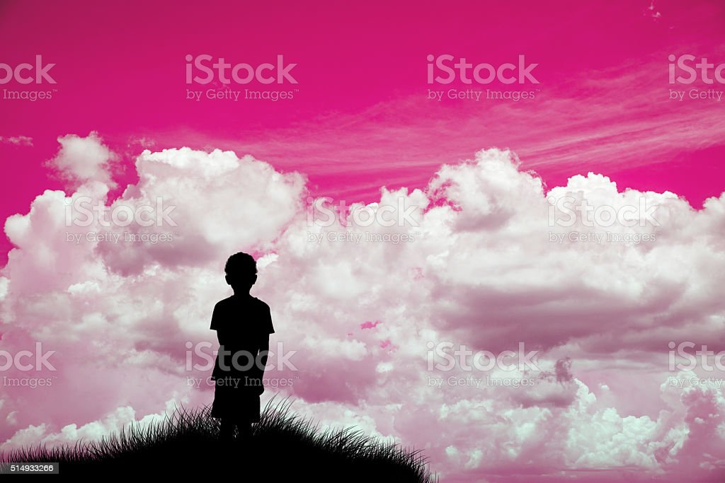 Lonely boy looking at pink sky Silhouette stock photo