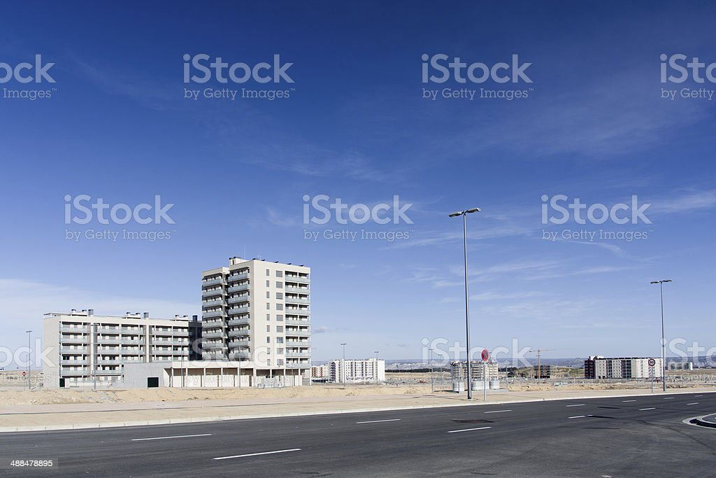 Lonely building during spanish property bubble stock photo