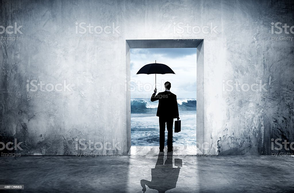 Lonely Businessman Facing Financial Depression stock photo