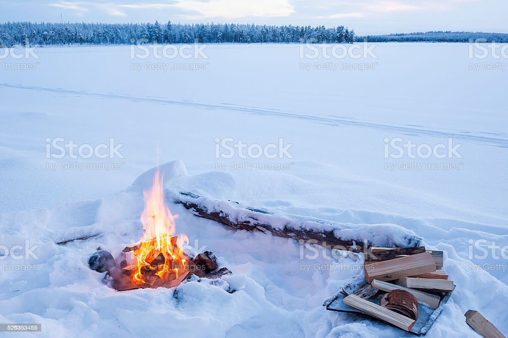Lonely campfire stock photo