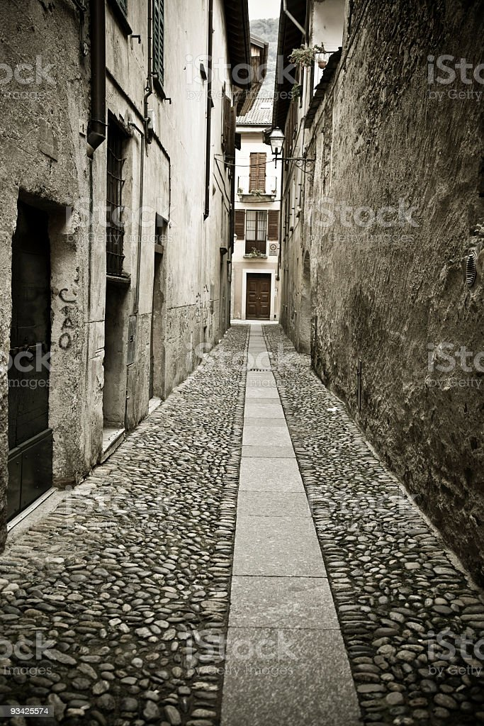 Lonely Cannobio Alley royalty-free stock photo