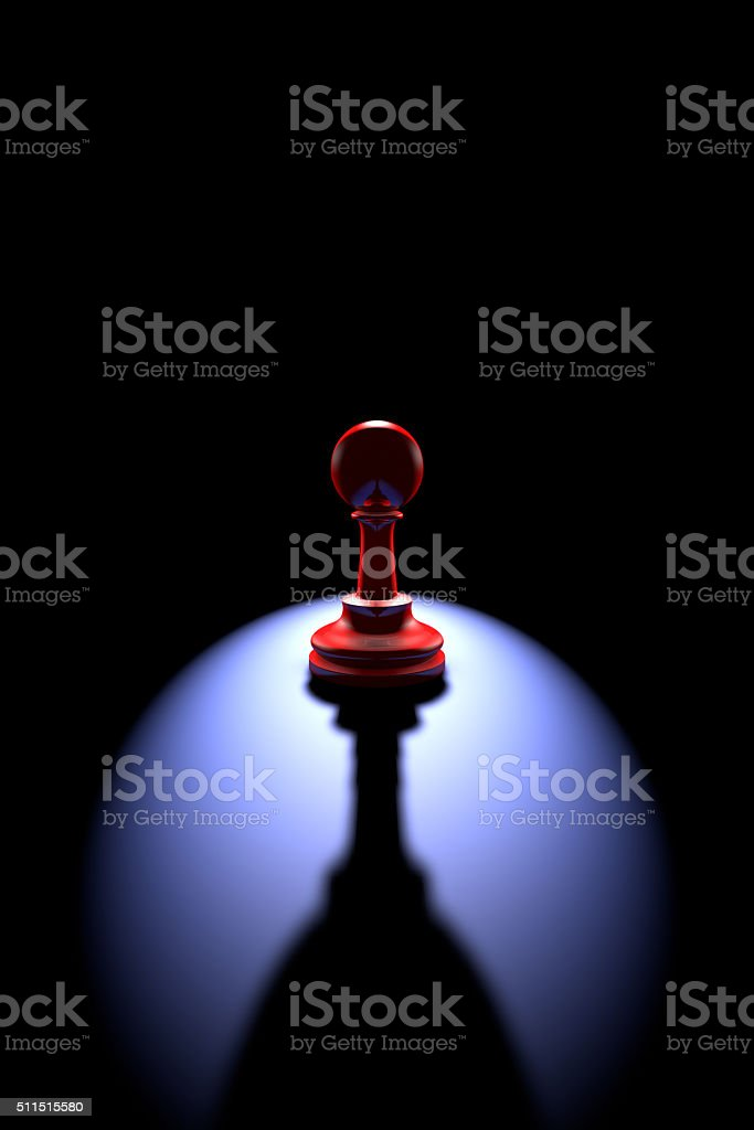 Lonely chess piece (pawn - a wine glass) stock photo