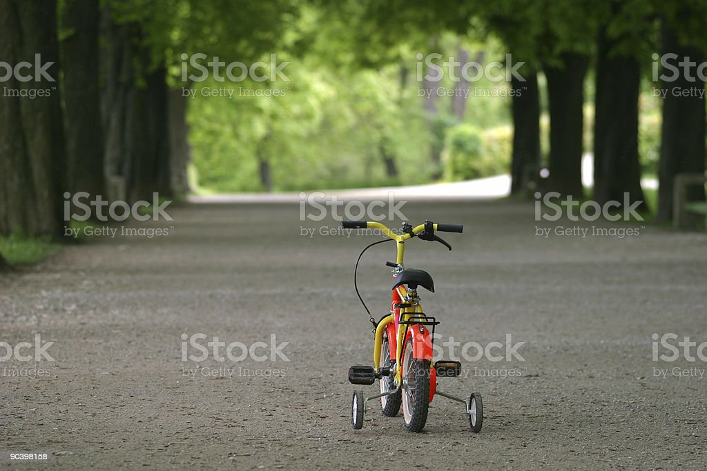 Lonely child's bicycle royalty-free stock photo