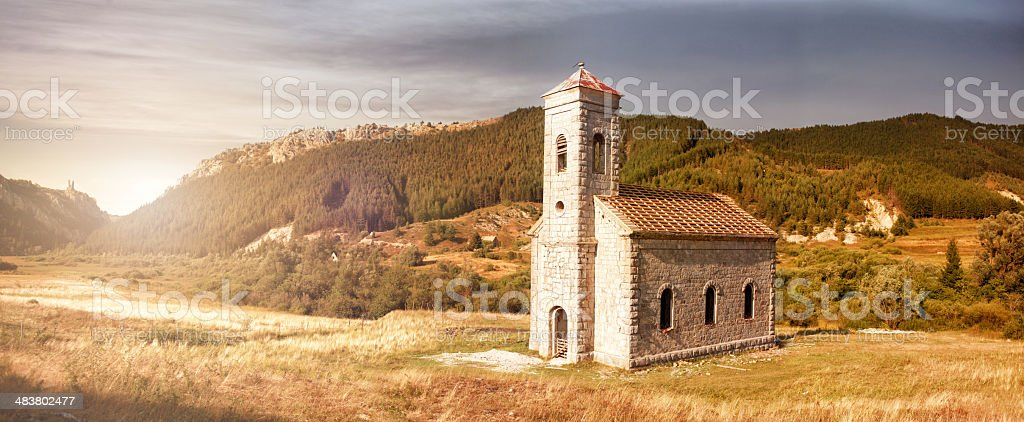 lonely church in beautiful countryside stock photo