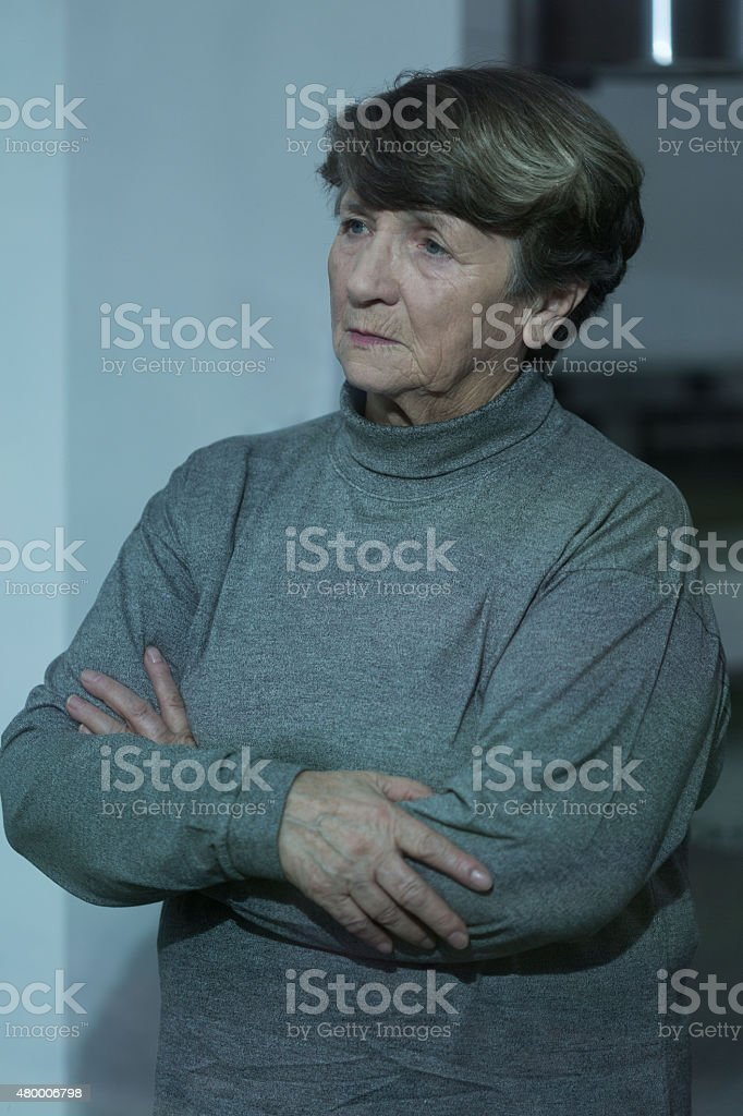 Lonely depressed pensioner stock photo