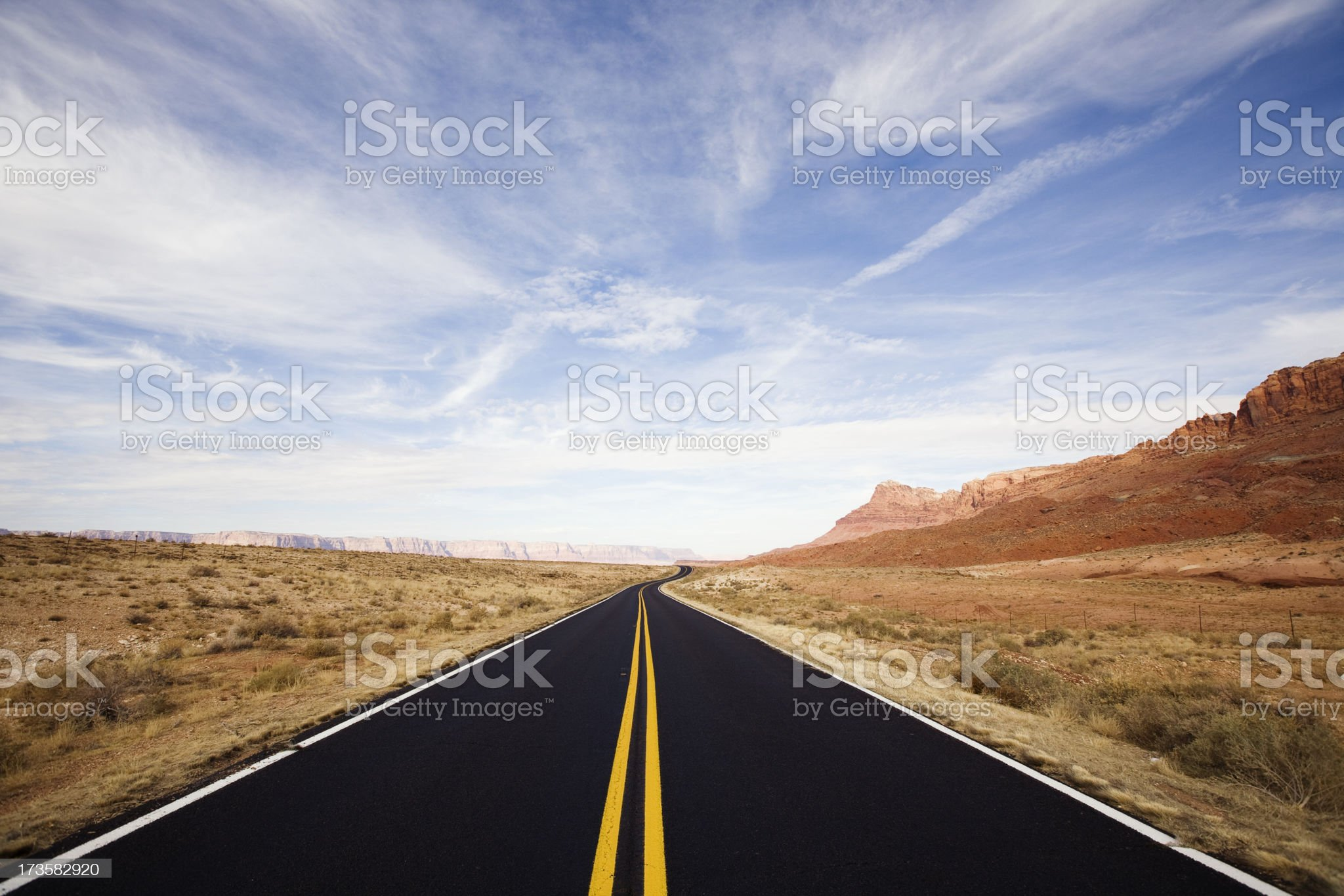 Lonely Desert Road royalty-free stock photo