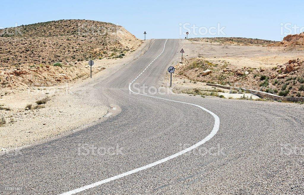 Lonely desert road. royalty-free stock photo
