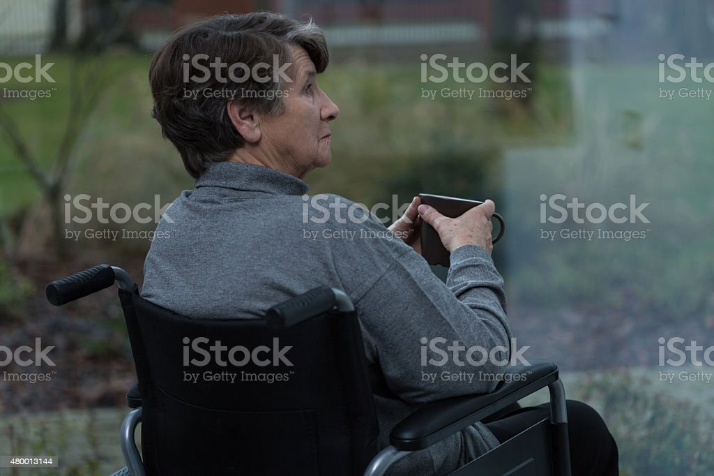 Lonely disabled women stock photo