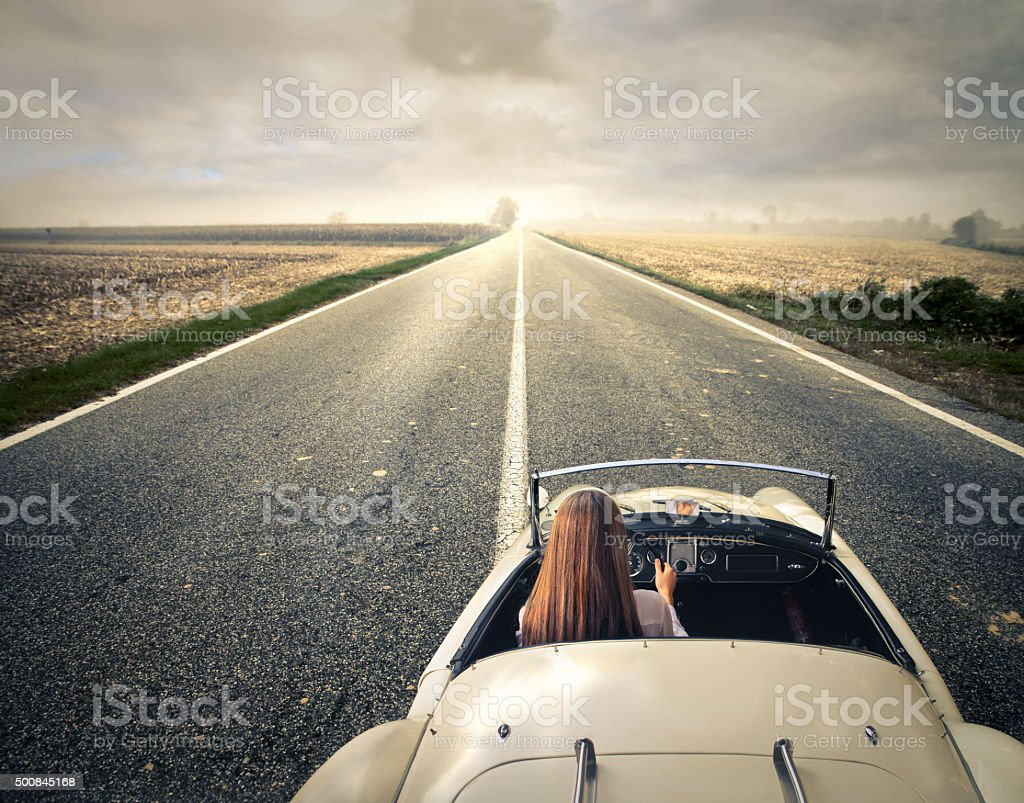 Lonely driving stock photo