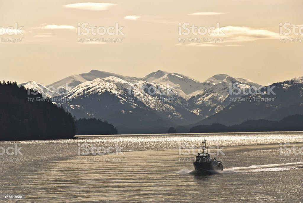 Lonely Fishing Boat stock photo