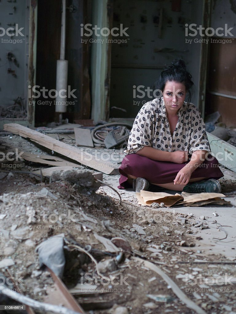 lonely girl stock photo