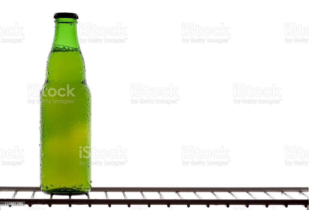 Lonely green beer bottle royalty-free stock photo