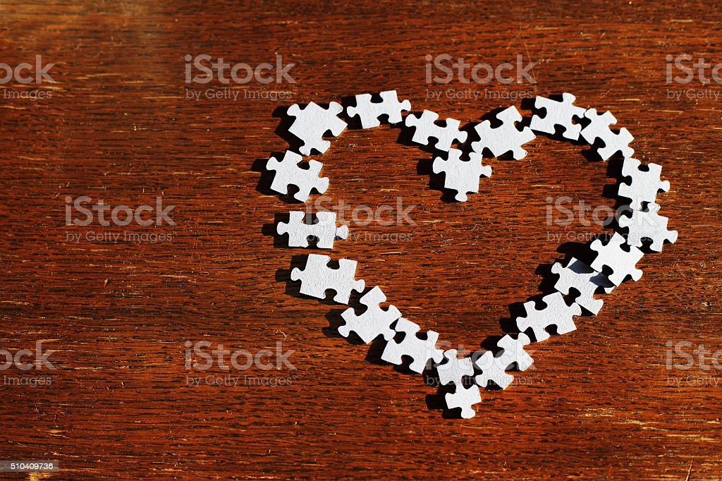 lonely heart jigsaw puzzle pieces royalty-free stock photo