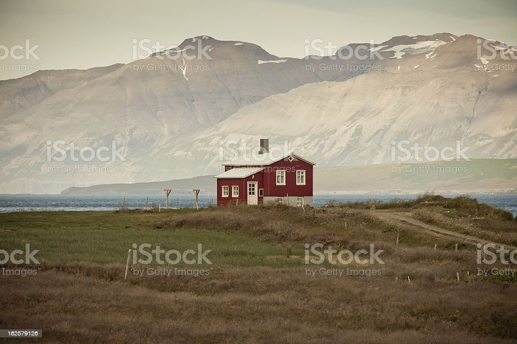 Lonely House at coastline in North Iceland royalty-free stock photo