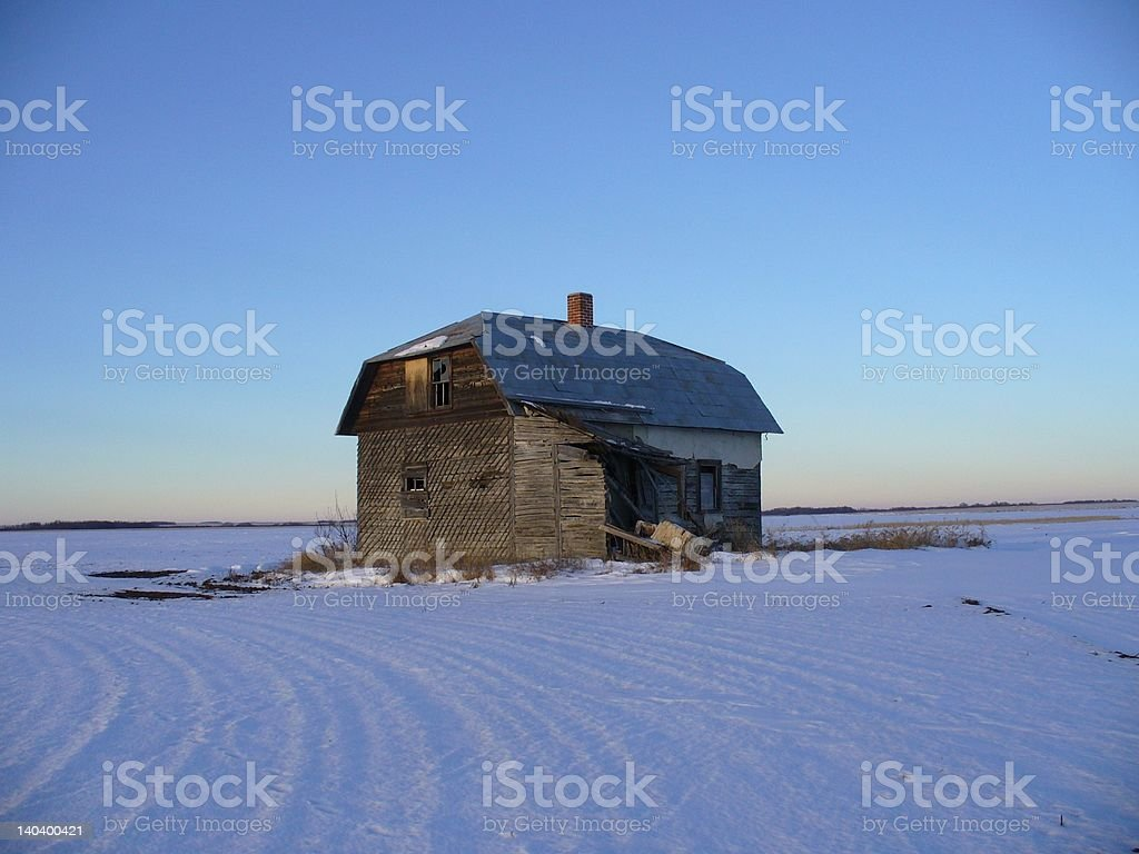 Lonely house at sunset royalty-free stock photo