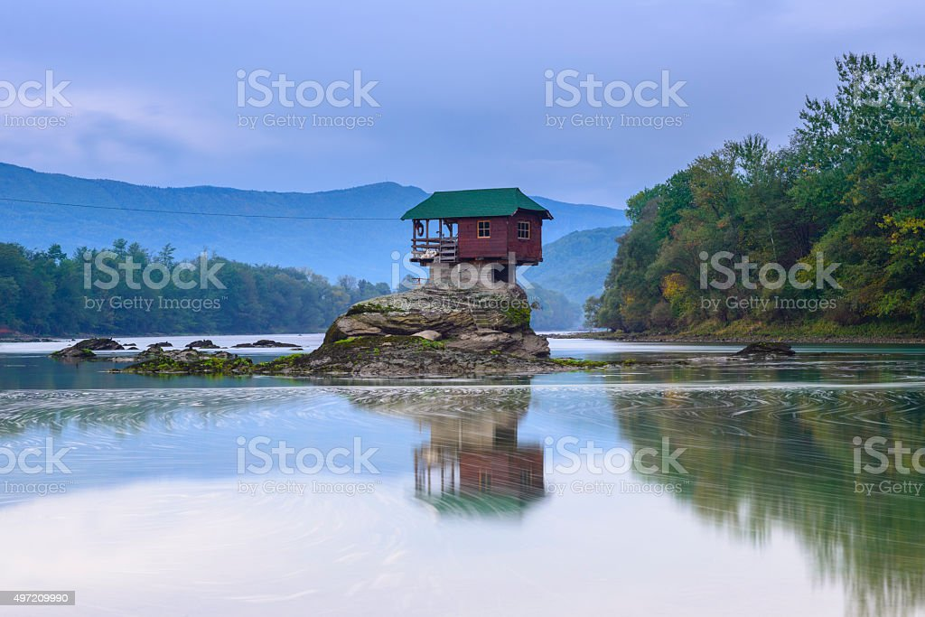 Lonely house on the river Drina in Bajina Basta, Serbia stock photo