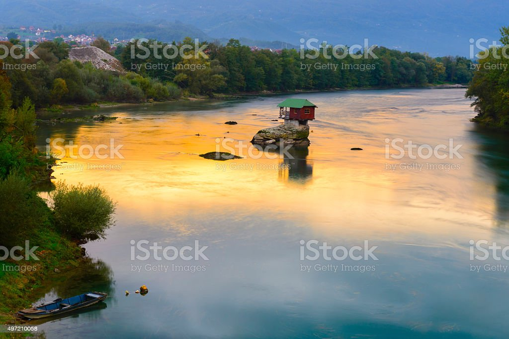Lonely house on the river Drina in Bajina Basta, Serbia stock photo