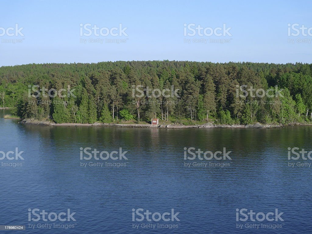 lonely hut on the coast royalty-free stock photo