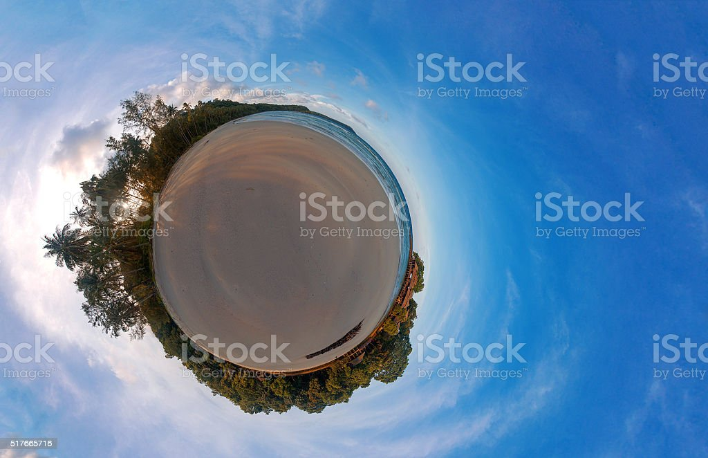 lonely Island 360 degree panoramas little planet stock photo