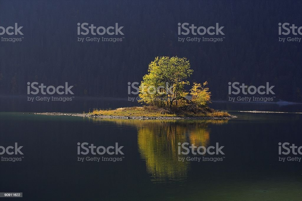 Lonely Island in Autumn royalty-free stock photo