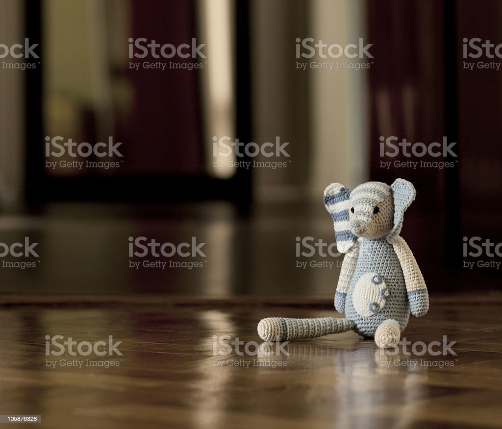 Lonely knitted elephant stock photo