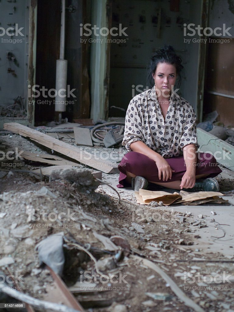 lonely lovely girl stock photo
