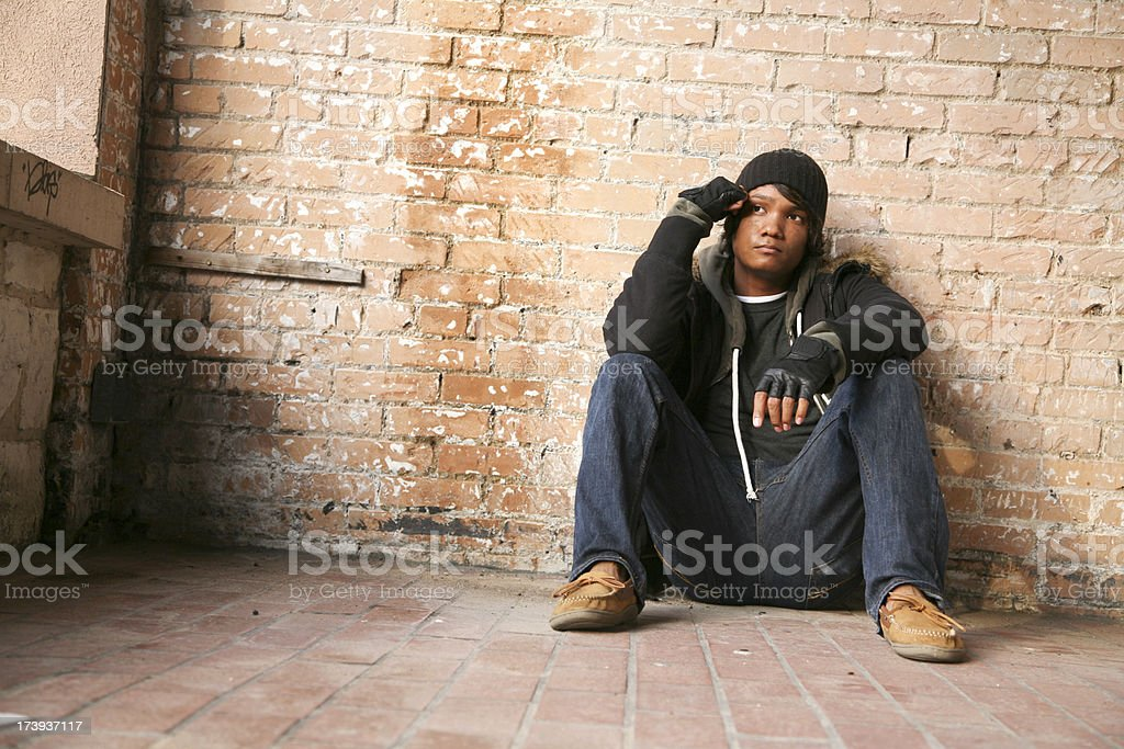 Lonely Man in a corner Looking away royalty-free stock photo