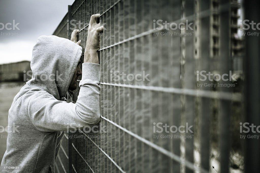 Lonely Man, No escape stock photo