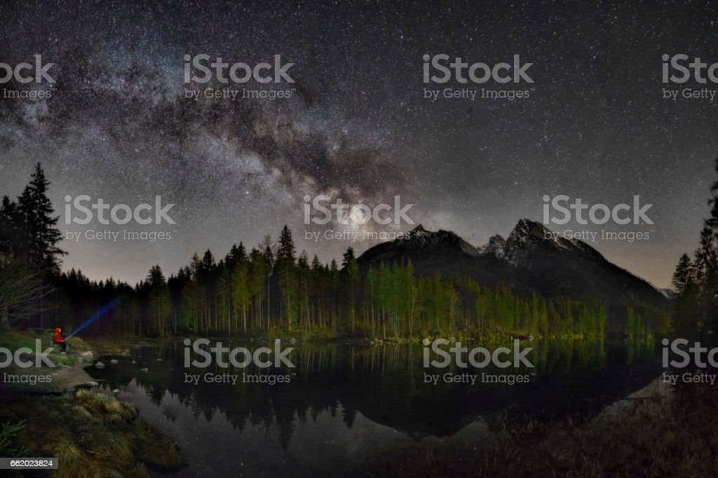 Lonely Man on banch under Milky Way at Lake Hintersee stock photo