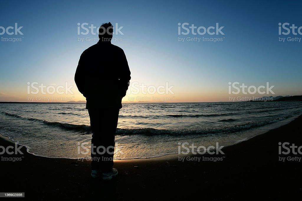 XXL lonely man silhouette royalty-free stock photo