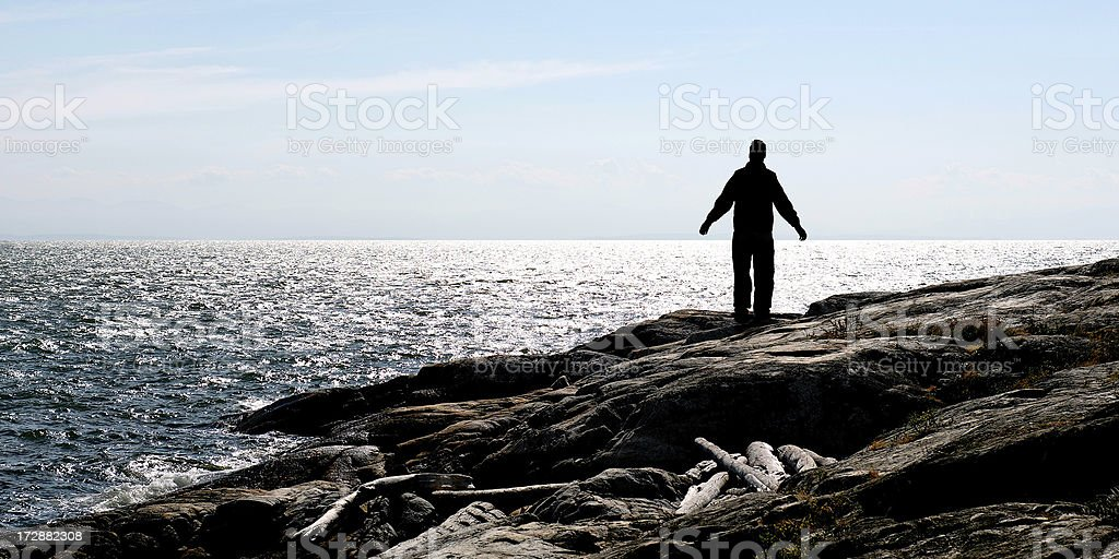 lonely man silhouette royalty-free stock photo