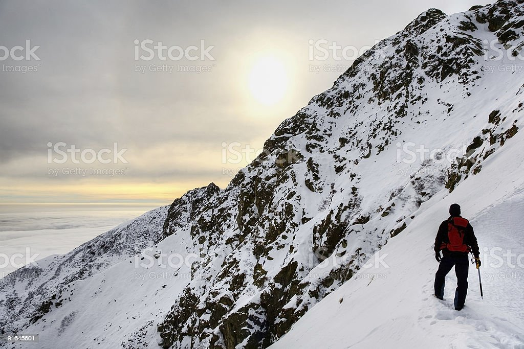 Lonely mountaineer royalty-free stock photo