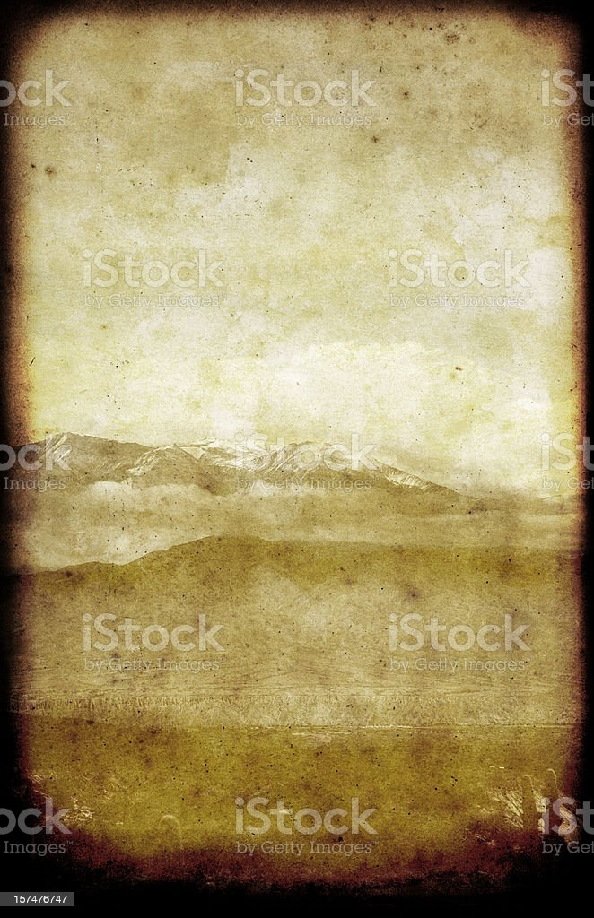 Lonely Mountains Landscape Card vector art illustration